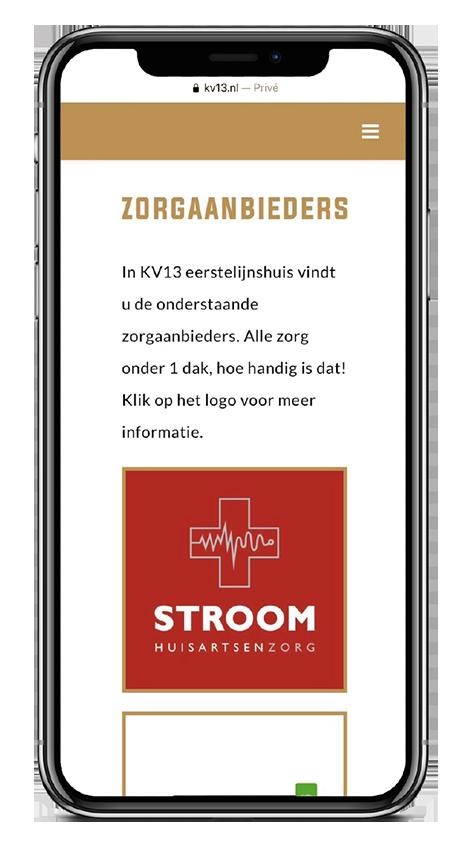 KV13 responsive design Zorgaanbieders
